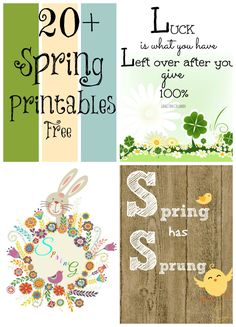 20+ Free #Spring printables. Great variety and styles to choose from. Just print and frame!