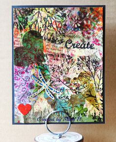 First ever effort at card collage; Elizabeth craft sentiment & Dragonfly dies, punched red heart embossed with UTEE, bits & pieces added with Modpodge, Stampscape branch stamp
