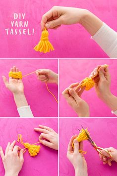 How to Make This Ridiculously Adorable Pom-Pom Tassel Wall Hanging - Brit + Co Crafts For Teens To Make, Crafts To Sell, Diy And Crafts, Pom Pom Garland, Tassel Garland, Pom Poms, Tulle Poms, Tulle Tutu, How To Make A Pom Pom