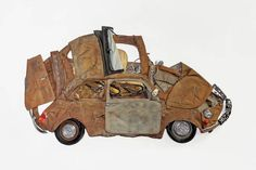 UK-based artist Ron Arad has created a series of wall-mounted car sculptures titled 'Pressed Flowers'. His exhibition feature six. Ron Arad, Industrial Sculptures, Walton Ford, Mark Ryden, Art Archive, Design Museum, Magazine Art, Art Fair, Public Art