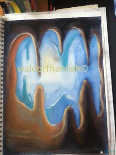 Waldorf ~ grade ~ Geology Mineralogy ~ Cave ~ stage 2 ~ pastels on top of painting 6th Grade Art, Sixth Grade, Blackboard Drawing, Wooden Spoon Carving, Cave Drawings, Arts Ed, Rock Art, Watercolor Paintings, Art Projects