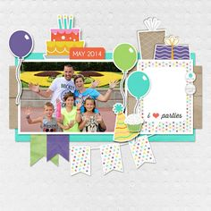 Digital Scrapbooking Layouts.  Made with Weeds & Wildflowers design Birthday Collection.