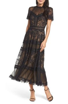 Free shipping and returns on Tadashi Shoji Lace Tea-Length Dress at Nordstrom.com. Both seductive and charming, this compelling black lace dress offers the illusion of skin-baring allure and the ladylike refinement of a tea-length silhouette.
