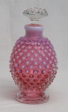 Fenton Cranberry Opalescent Hobnail Cologne Bottle