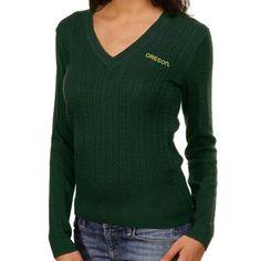 Tommy Hilfiger Oregon Ducks Ladies Green Jenny Cable Knit V-Neck Sweater