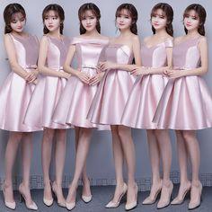 Nuevas Damas de Honor Vestidos de Rosa Satén Grueso Corto Banquete Formal Elegante Vestido de fiesta de 6 Estilos de La Novia Vestido formal Del Traje De Soiree