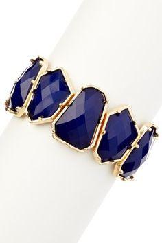 Gold & Blue Geometric Shaped Stone Stretch Bracelet