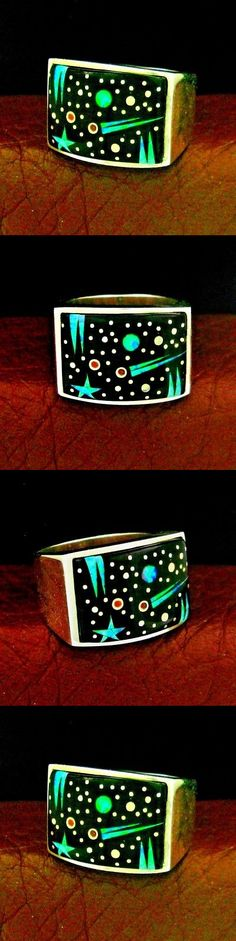 Rings 98500: Marty Yazzie Sterling Silver Night Sky Men S Ring Size 10 --- R84 D -> BUY IT NOW ONLY: $269.34 on eBay!