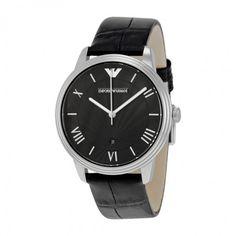 Emporio Armani Black Dial Black Leather Men's Watch AR1611