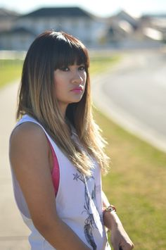 Asian ombre with bangs - side view
