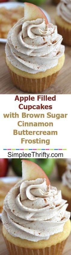 Apple Filled Cupcakes with Brown Sugar Cinnamon Buttercream Frosting: Light & fluffy cupcakes with a surprise in the middle. You will love these delicious cupcakes. Apple Desserts, Mini Desserts, Apple Recipes, No Bake Desserts, Just Desserts, Sweet Recipes, Delicious Desserts, Fall Recipes, Cinnamon Recipes