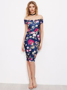 Navy Floral Print Bardot Neck Back Slit Bodycon Dress
