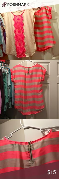 Oversized shirts from Express Two shirts with the feel of silk! Super comfey, great with leggings and covers the bum. One is a light peach with a bright pink lace detail, the other has a bright pink and tan stripe. Express Tops Blouses