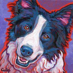 BORDER COLLIE Dog Original Art Painting on 8x8 canvas by Lynn Culp