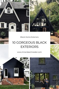 10 Gorgeous, Black Home Exteriors! From cottages to Victorian homes, these black houses are stunning. Tudor House Exterior, Victorian Homes Exterior, Black House Exterior, Cottage Exterior, House Paint Exterior, Exterior Paint Colors, Exterior Houses, Tudor Cottage, Dark House