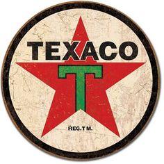 Texaco '36 Logo Round Distressed Retro Vintage Tin Sign