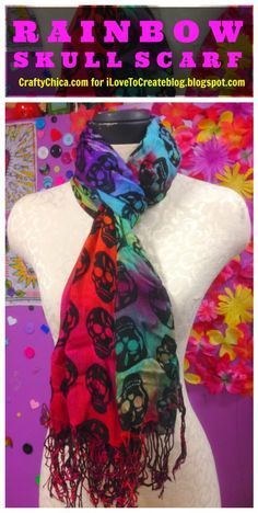 DIY Rainbow Skull Scarf by @craftychica and @ilovetocreate