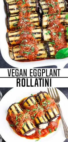 This Vegan Eggplant Rollatini is a great meal for your summer menu. It's light, yet satisfying and it's brimming with smoky flavor. Plus, it's easy to make and requires simple, budget-friendly ingredients. #eggplantrollatini #glutenfree #tofuricotta #veganhuggs #vegandinner