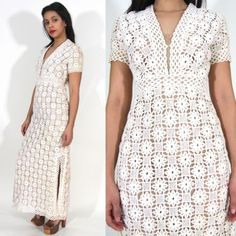 Vtg-60s-70s-White-Ivory-Crochet-Cut-Out-Lace-Plunging-Maxi-Dress-Hippie-Wedding