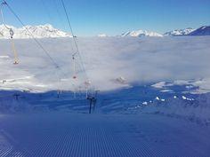 Vue sur la mer de nuages depuis les pistes de ski du Dévoluy.