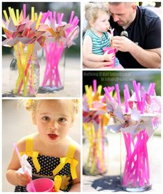 """Pink Lemonade and Pinwheels Birthday Party—whimsical and sweet! Rock candy, giant spinning pinwheels, """"favorite things"""" photo prop, favors that won't cause a sugar crash, group play ideas, and DIY invitations."""