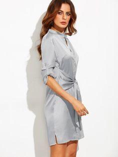 Roll Up Sleeve Tie Waist Split Dress -SheIn(Sheinside)