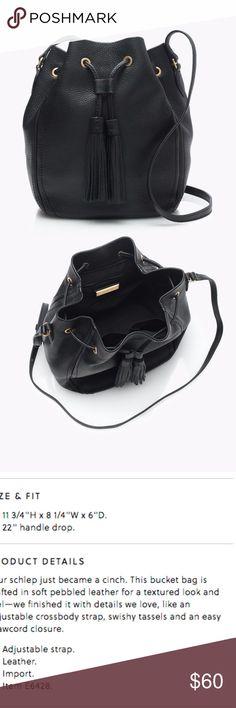 cee636dbe482 J. Crew Tassel Bucket Bag in Black Leather EUC J. Crew s lady boss bucket