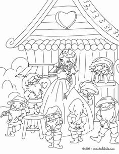Grimm Fairy Tales Coloring Book Elegant Little Snow White and the 7 Dwarfs Coloring Pages