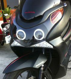 Bloc Optique Black Xenon 6000K avec Yeux d'Anges Honda PCX POWERbyPCX