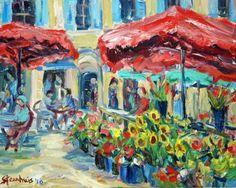 by Jill Steenhuis -- flower market in Aix-en-Provence