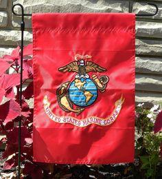 "Marines Nylon Embroidered 12"" x 18"" Garden Flag"
