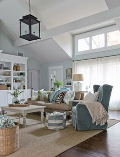 Lovely neutrals...and an amazing lantern light fixture.