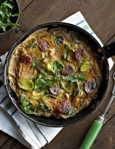Leek and chorizo frittata