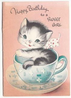 Kitten in Tea Cup Greeting Card