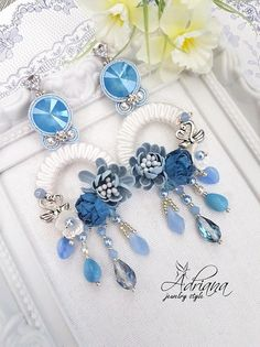 Blue White Circle Soutache Earrings With Swarovski Crystals And Flowers