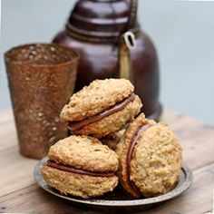 Oatmeal Nutella Whoopie Pies       Cookies     190g brown sugar     75g unsalted butter, room temperature     1 whole egg     1/4 tsp salt     1/2 tsp ground cinnamon     1/2 tsp baking powder     1 1/2 tbsp boiling water     1/2 tsp baking soda     150g plain flour     90g rolled oats     Nutella Filling     2.5 tbsp all purpose flour     1/2 cup milk     1 tsp vanilla extract     75ml low fat cream, chilled     75gm Nutella