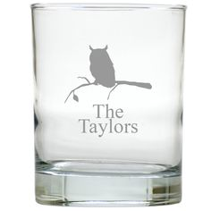 Perfect for your Thanksgiving table or any time of the year, these Owl & Branch personalized Double Old Fashioned Glasses are great for serving the beverage of your choice.