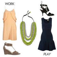 outfit for work + play with a touch of neon