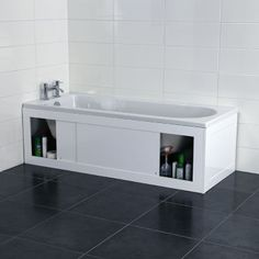 Croydex Unfold N Fit White Bath Panel With Lockable Storage Front 1680mm