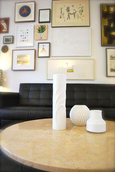 mid-century + modern art wall & white porcelain vases
