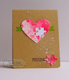 handmade Valentine card ... kraft base ... water color heart die cut  and double cut with puzzle pieces ... one piece missing & in the corner with the sweet sentiment ...