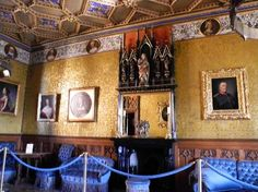 Blauer Salon (Blue Salon): Love the gold wallpaper/silk! The detailed wainscoting is also nice. I love the dark blue velvet-upholstered furniture, too. This room is next to the Markgrafenzimmer (Margrave room) and Sankt Michaelskapelle (Saint Michael's Chapel).