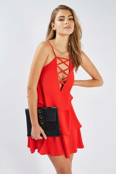 **Lace Up Ruffle Mini Dress by Rare - Dresses - Clothing - Topshop Europe