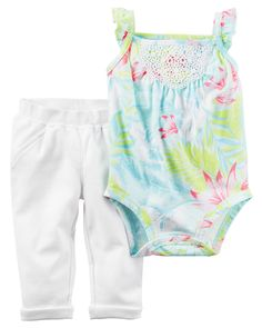 Baby Girl 2-Piece Bodysuit Pant Set Crafted in a fun floral print, this 2-piece set keeps her cute and comfy for all-day play.