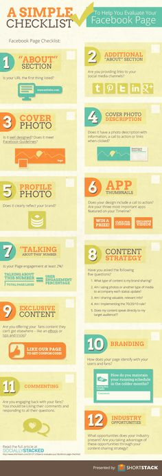 Facebook Checklist infographic  www.michigancreativevideo.com  #MI #lovelansing #creative #marketing #SEO #advertising