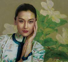 陈逸鸣油画作品:仕女系列-2 - 白玉兰  2006年作 作品尺寸:72*66cm