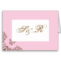 Chocolate & Pink Butterfly Wedding Thank You Notes