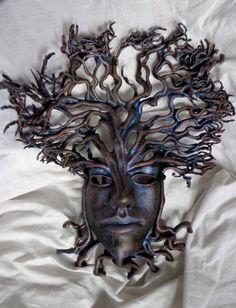 Leather Mask Full Face Dryad Tree Spirit by SatoriMasks on Etsy, $398.00