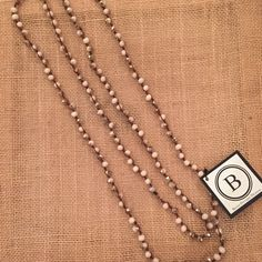 Betsy Pittard Cream and Smoke Knotted Long Necklace