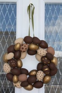 Chocolate Easter Egg Wreath ~ cute idea, not that i need more chocolate temptation, though!